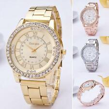 Geneva Watch Women Fashion Crystal Gold Stainless Steel Quartz Dress Wrist Watch