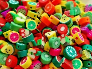 Mixed polymer clay assorted fruit beads 10 mm pack of 50