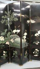 VINTAGE CHINESE ROOM DIVIDER BLACK ENAMELED PANELS HAND CARVED 5 PANEL CRANES