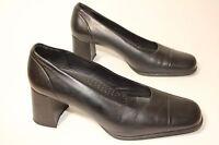 Next flexi womens black leather stack heel shoes uk 6 eu 39