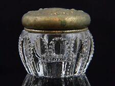 Exceptional Antique Powder Cut Glass Dresser Jar w/ Unmarked Silver Lid