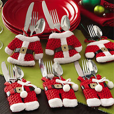 6 Pcs Christmas Xmas Holders Pockets Dinner Table Decor Decorations Cutlery Bag