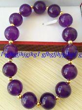 8MM Natural Purple Amethyst Round Gemstone Beads Gold color Beads Bracelet