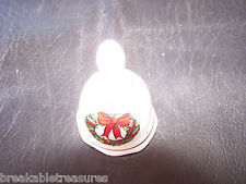 Small Ceramic Christmas Bell - Chritmas Wreath 3 3/4 Inches Tall