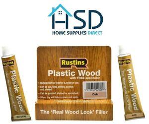 Rustins Plastic Wood Filler Applicator Repair Cracks Holes Teak Oak Natural Pine