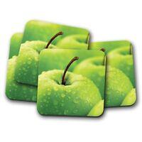4 Set - Juicy Green Apple Coaster - Granny Smith Fruit Healthy Food Gift #14626