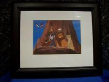 "WALT DISNEY "" THE LION KING "" DISNEYLAND MATTED GLASS WOOD FRAMED PICTURE 1968"