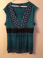 NWT Style & Co. blue multi-color v-neck belted blouse size XL