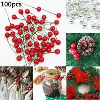 NEW Artificial Red Holly Berry Christmas Decor On Wire Bundle Garland Wreath