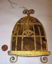 antique gold silver mirror birdcage bird cage decor Christmas Tree Ornament 7x4