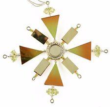 Geometric Gold Orange Mirror Snowflake Christmas Ornament Holiday Decoration