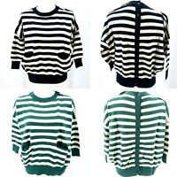 PEPALOVES Striped Button Back Sweater Pockets 3/4 Sleeves Green Black XS S M L