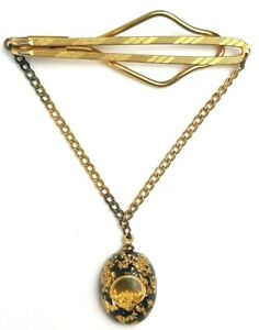 Vtg 1960's 70's Mens Gold Flake In Resin Tie Bar Clip & Chain Gold Toned Clean!