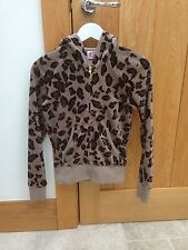 Juicy Couture Tracksuit Top Hooded Jacket Leopard Print Brown Black - Size Small