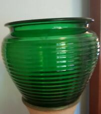 Vtg National Potteries Emerald Green Ribbed Glass Planter/Bowl/Decor USA