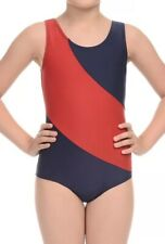 Danskin Freestyle Navy Blue Red Leotard Competition Gymnastics Girls Large 12-14
