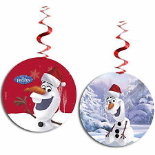 3 Disney's FROZEN Red Christmas OLAF Party Hanging Foil Swirl Cutout Decoration