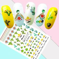Nail Art Stickers Transfers 3D Self Adhesive Viva Mexico Cactus (XF3064)