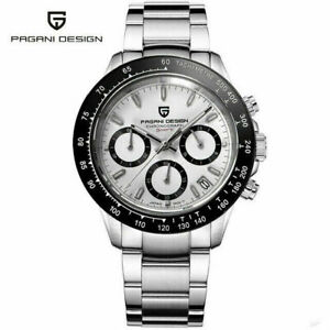 PAGANI DESIGN Waterproof Men Japan Quartz Wrist Watch Chronograph Steel Band