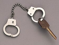 Police Officer Mini Metal Dual Handcuff Chrome Novelty Keychain Key Ring Holder