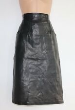 Women's Vintage High Waist Pencil Wiggle Black 100% Leather Skirt Size W26 UK8