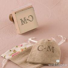 Personalized Burlap Chic Monogram Rubber Stamp DIY Wedding Favor Decoration