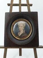 Ancienne miniature portrait de femme XIX ème s
