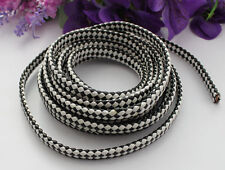 3 Meters of Black/white Braided Leather Cord 9.5x4mm #22518