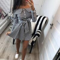 Womens Holiday Off Shoulder Belt Mini Dress Ladies Summer Striped Blouse Tops