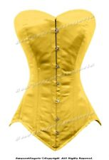 Heavy Duty 26 Double Steel Bone Waist Training YELLOW Satin Long Overbust Corset