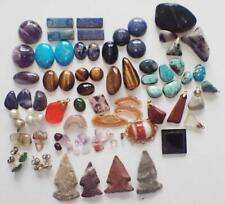 Jewelry Making Stones Blue Lapis Turquoise Cats Eye Amethyst Arrow Heads Etc