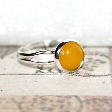 Cute Silver and Mustard yellow gemstone adjustable ring