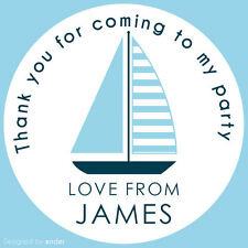 35 Personalised Sail Boat 37mm Round Stickers labels Party Thank You sweet cone