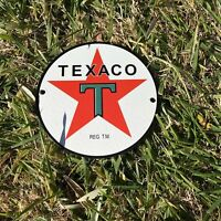 "VINTAGE TEXACO STAR 6"" PORCELAIN METAL GASOLINE & OIL PUMP PLATE SHOP PUSH SIGN!"