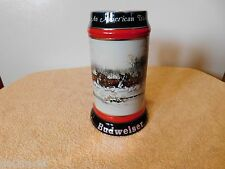 """Budweiser """"An American Tradition"""" 1990 Collectors Ceramic Stein Made In Brazil"""