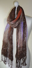 Brown Orange Lilac Long Scarf Wrap Wide Silver Lurex Tassels Lightweight Crinkle