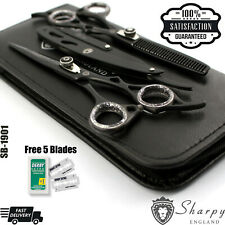 """PROFESSIONAL BARBER HAIRDRESSING SCISSORS THINNING HAIR CUTTING SHEARS 6.5""""/Case"""