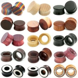 1pc Wood Flesh Tunnels Saddle Ear Gauges Solid Hollow Piercing Mens Body Jewelry