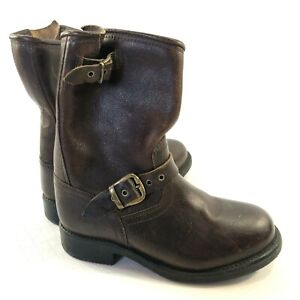 Frye Brown Leather Harness Boots Big Kids Size 1 Super Cute~