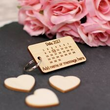 Personalised Calendar Save the Date Keyring / Wedding / Anniversary Gift