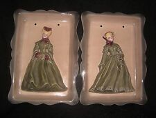 """Vtg Pair Florence Ceramics Wall Plaques, """"ELAINE"""" & """"WOMAN WITH FAN"""", Green"""