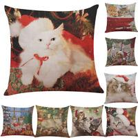 Christmas Square Cotton Pillow Case Festive Cat Print Home Decor Cushion Covers