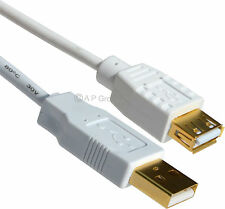 3m LONG USB 2.0 EXTENSION Cable Lead A Male To A Female GOLD Connecters WHITE