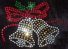 CHRISTMAS XMAS BELLS iron-on RHINESTONE BEAD TRANSFER