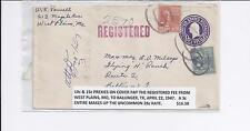 10c & 15c PREXIES ON COVER PAY THE RGSTD FEE FROM WEST PLAINS MO TO TX APR 1947