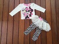 Kids Girls Minnie Mouse 2 Piece Outfit SET Top & TUTU legging Size 6-9m 12 mos