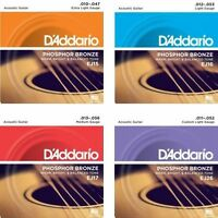 3 Sets D'Addario EJ Phosphor Bronze Acoustic Guitar Strings  EJ15 EJ16 EJ17 EJ26