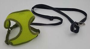 PET ATTIRE Choke Free Design  STEP-IN Harness  XXS Lime Green Black Leash
