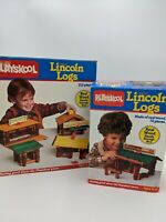 1986 PLAYSKOOL Original LINCOLN LOGS Set Lot w/ Box 2 Sets Vintage Near Complete