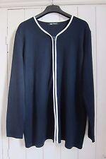 Women's navy blue, viscose, zip cardigan w white trim, size 18, Mila Paoli, new